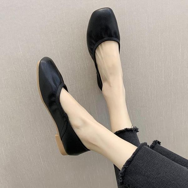 豆豆鞋 平底單鞋女春季奶奶鞋軟底孕婦鞋蛋卷豆豆鞋春款潮鞋-Ballet朵朵