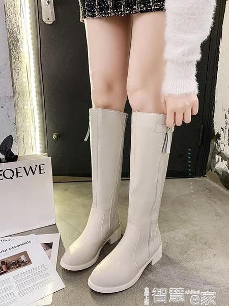 長筒靴 靴子2021新款女長靴復古粗跟加絨高靴不過膝百搭英倫風顯瘦中筒靴 智慧