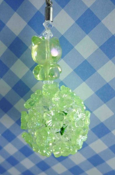 【震撼精品百貨】Hello Kitty 凱蒂貓~KITTY珠珠鈴鐺吊飾-綠色