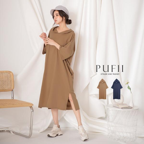 限量現貨◆PUFII-洋裝 側口袋長版帽T洋裝-0212 現+預 春【CP17933】