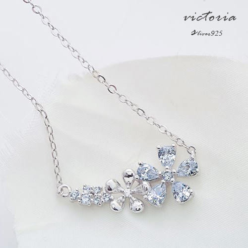 S925純銀 鋯石極致閃亮唯美花朵 項鍊-維多利亞1612119