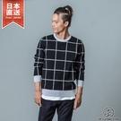 圓領毛衣 格紋毛衣 針織衣