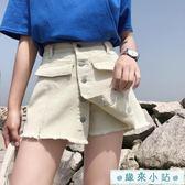 短褲女夏寬鬆學生百搭假兩件褲子