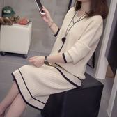大碼女裝秋冬款胖妹妹寬松顯瘦針織衫時尚針織套裝胖MM兩件套A8913F103皇潮天下