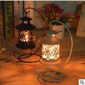 歐式古典鏤空燭台復古婚慶裝飾白沙鐵藝工藝品擺件 情人節禮物限時八九折