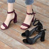 一字扣帶中跟粗跟涼鞋女百搭職業女鞋黑色露趾涼鞋羅馬鞋『韓女王』