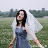 新款婚紗頭紗短款女新娘韓式簡約頭紗頭飾超仙網紅拍照森系頭紗白 居家物語