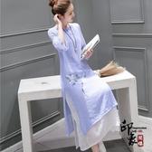 2020春夏新款中國風文藝改良式日常旗袍中長款棉麻連身裙禪茶服琴服