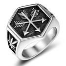 《 QBOX 》FASHION 飾品【RSA1042】精緻個性歐美六菱角愛神之箭鑄造鈦鋼戒指/戒環