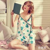 睡衣女夏季背心棉質吊帶韓版清新寬鬆性感顯瘦家居服 tx1186【雅居屋】