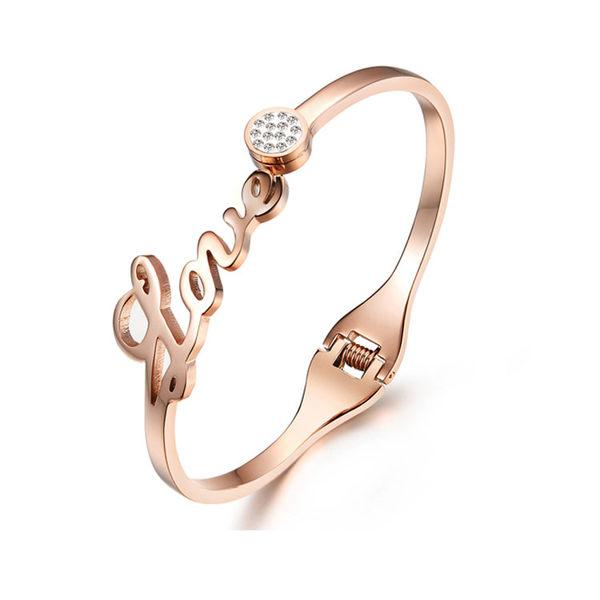 Mao 【5折超值價】 【316L西德鈦鋼】最新款經典時尚LOVE簡約開口鈦鋼手環