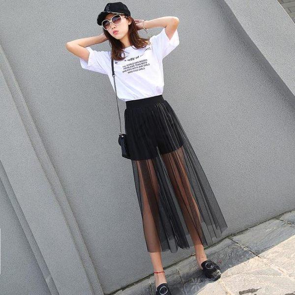 米蘭 夏季新款網紗半身裙超薄透視女紗裙高腰單層黑色打底外搭透明長裙