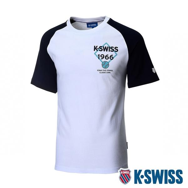 K-SWISS Raglan Tee印花短袖T恤-男-白/藍