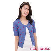RED HOUSE-蕾赫斯-蘋果針織外套(藍色)
