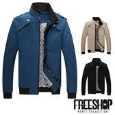 軍裝外套 [現貨]【QZZZ6301】美式休閒素面雙層剪裁撞色立領夾克外套軍裝外套 三色 有大尺碼