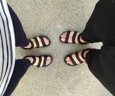 新款韓版日系羅馬情侶涼鞋越南沙灘鞋原宿大碼夏男女涼拖兩穿  卡布奇诺
