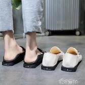 正韓方頭低跟單鞋女港風粗跟樂福鞋懶人兩穿小皮鞋女 港仔HS
