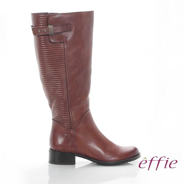 effie 魅力時尚 真皮立體壓紋低跟直筒長靴 茶