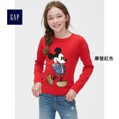 Gap x Disney女童 迪士尼系列米奇亮片圖案長袖圓領針織衫 395155-摩登紅色