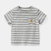 兒童短袖 男童條紋短袖T恤夏裝童裝兒童半袖3歲1小童上衣打底衫U10502【萬聖夜來臨】