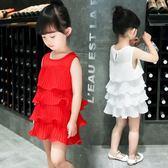 女童連身裙夏裝兒童的公主裙2018新款韓版雪紡寶寶裙子小女孩童裝 桃園百貨