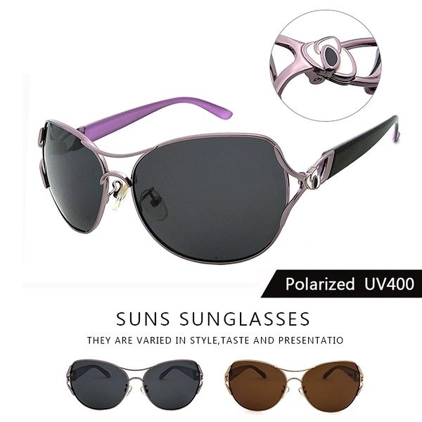 淑女偏光墨鏡 Polaroid偏光墨鏡 鏤空金屬框精緻浪漫 超輕盈僅23g 時尚設計顯小臉太陽眼鏡 抗UV400