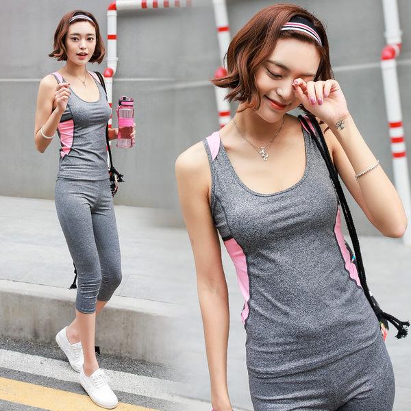 韓國春夏新款瑜伽服套裝套女短袖背心休閒運動跑步健身喻咖服   -cmx0041