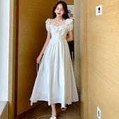 裙子超仙短袖連衣裙女夏新款氣質方領chic溫柔收腰顯瘦仙女裙 雙十二全館免運
