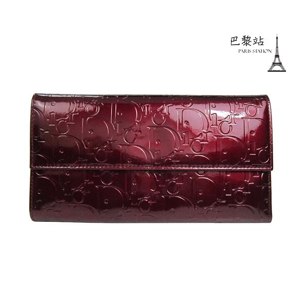 【巴黎站二手名牌專賣店】*現貨*Christian Dior 真品*紅色漆皮字母壓紋長夾