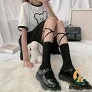 日系綁帶襪子女中筒襪交叉小腿襪長筒jk系帶【創世紀生活館】