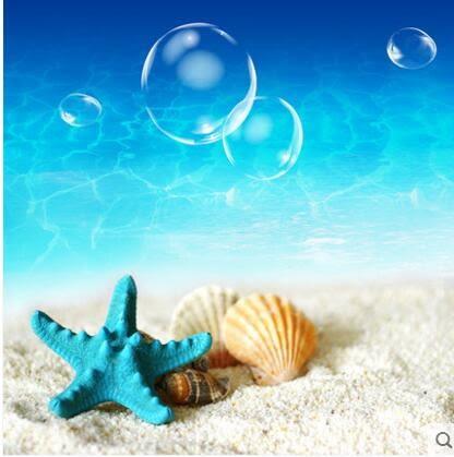 客廳三聯畫無框畫裝飾畫臥室掛畫壁畫風景地中海大海沙灘海星X