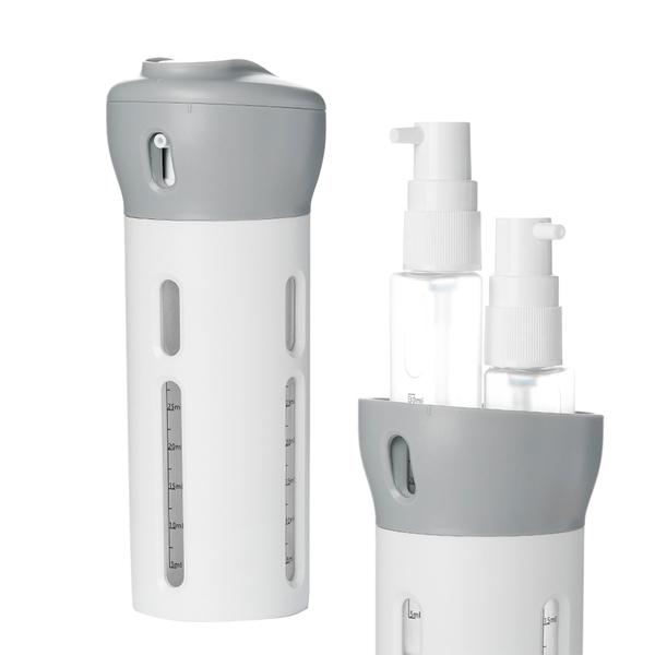 旅行四合一旋轉乳液分裝瓶/分裝罐/擠壓瓶 化妝品 乳液 保養品 沐浴乳 洗髮精皆可