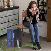 棉褲--俏皮趣味性貓咪印圖鬆緊褲頭內刷毛棉褲(黑.藍2L-5L)-P105眼圈熊中大尺碼