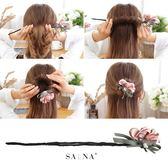 丸子頭盤髮器韓國造型器百變蓬鬆飄帶花朵懶人花苞頭髮帶扎頭髮飾