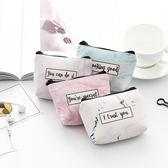 【BlueCat】草寫英文大理石紋帆布拉鍊 零錢包