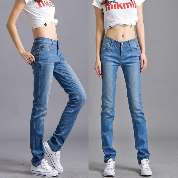 夏季薄款小直筒牛仔褲女寬鬆加長高腰大碼彈力胖MM直筒褲長褲  居家物語