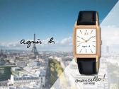 【時間道】agnes b. marcello!設計師手寫系列復古方形腕錶/白面玫金殼黑皮(VJ21-KFY0Z/BH8046X1)免運費