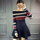 長袖針織衫-性感一字領條紋時尚女T恤73hn4【時尚巴黎】