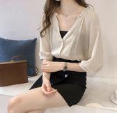 SHINE KOREA  時尚雪紡七分袖簡約上衣