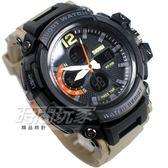 SKMEI 時刻美 雙顯錶 三眼計時運動電子手錶 第二時間 中性錶 男錶 學生錶 橡膠 黑x卡其 SK1343卡