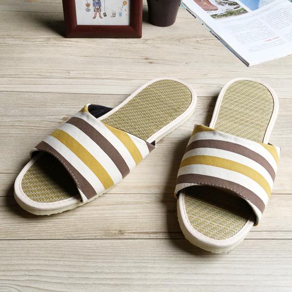 小時光-真草蓆拖-草蓆室內拖鞋-時光條紋-咖