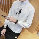 長袖T恤-休閒秋冬純色高領印花男上衣4色73qd13【巴黎精品】