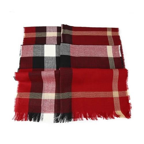 BURBERRY 經典格紋喀什米爾羊毛混紡流蘇圍巾 Parade Red(鮮紅)