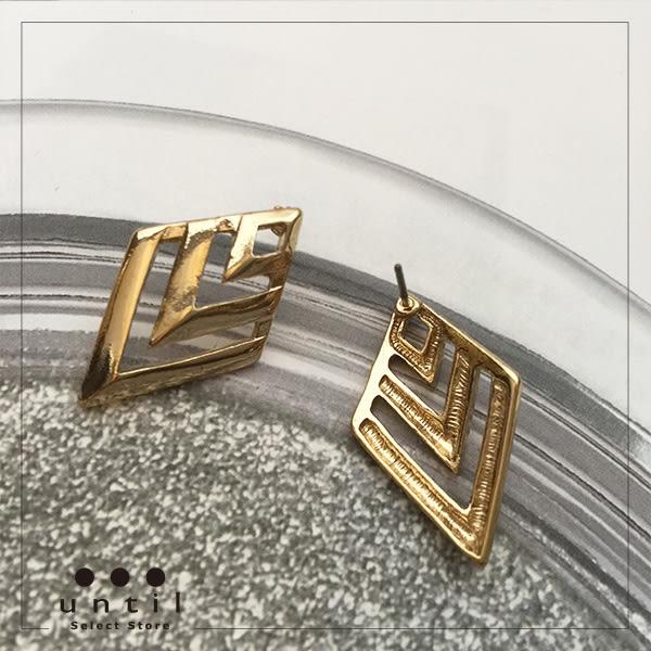 戰士的盾牌~菱形幾何鏤空耳環615511/1色