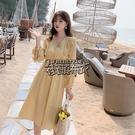 韓版女裝秋冬新款V領波點荷葉邊雪紡長袖洋裝 街頭布衣