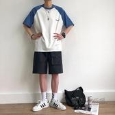 短袖t恤男韓版圓領撞色體恤衫ins夏季寬鬆學生潮流五分袖上衣 萬聖節