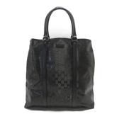 GUCCI 古馳 黑色牛皮PVC材質手提包 GG Imprime Tote Bag 223668【BRAND OFF】