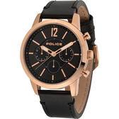 【台南 時代鐘錶 POLICE】義式潮流 都會時尚三眼日期腕錶 14673JSR-02 皮帶 玫瑰金 50mm