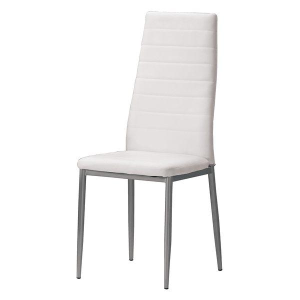 【森可家居】奧爾登餐椅(白皮) 8CM1036-16
