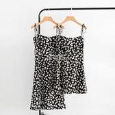 法國小眾夏季小雛菊印花復古少女吊帶裙中長款肩部系帶顯瘦洋裝 快速出貨